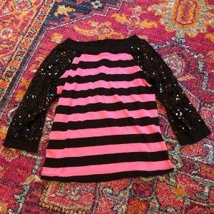 Justice girls shirt size 12 pink & black shirt